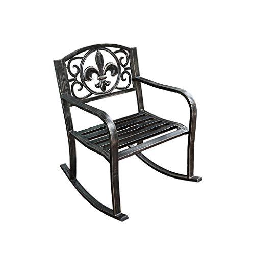 HYYTY-Y Einzelner Schaukelstuhl Im Freien, Gepolsterter Lounge Sessel Aus Schmiedeeisen Für Patio/Hof/Garten 605-YY (Size : A) - Schmiedeeisen Patio-möbel-sets