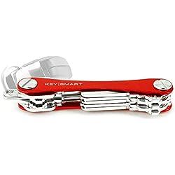 KeySmart Extended | Compacto llavero y organizador (2-14 llaves, rojo)