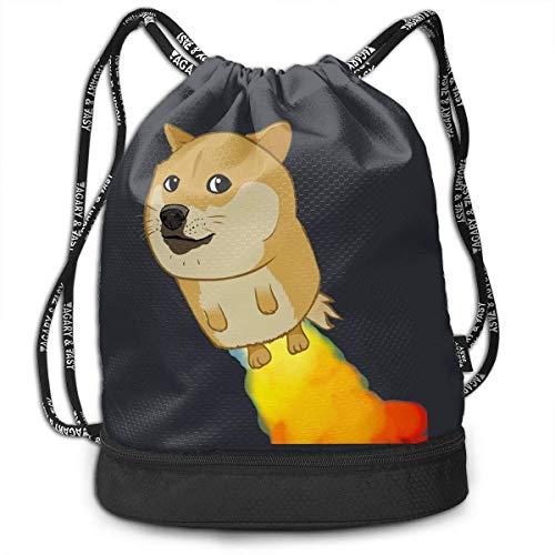 (Aeykis Unisex Flying Doge Welsh Corgi Drawstring Shoulder Backpack Travel Bag)