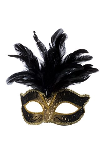 Jannes 34351 Deluxe Venezianische Maske mit Federn Gold/Schwarz