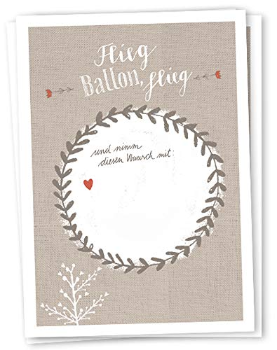 50 Ballonflugkarten - Flieg BALLON, flieg! | für Hochzeit, Geburtstag, Taufe, Kommunion u.v.m. | Partyspiel mit Ballonkarten | beige weißes Design | extra leicht, 170 g Recyclingpapier, CO2 neutral (Mit Sie Auf Geburtstags-luftballons Namen)