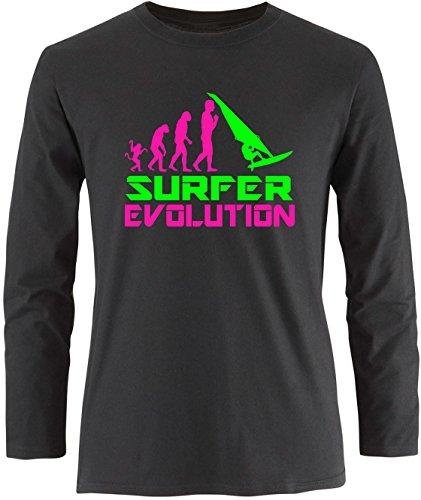 EZYshirt® Surfer Evolution Herren Longsleeve Schwarz/Pink/Neongr