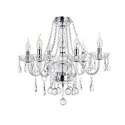 Maria Theresa Kristall Kronleuchter mit 6 Gebogenen Armen, JJGD Klarglas K9 Regentropfen Deckenleuchte Unterputz LED Kücheninsel Beleuchtung für Esszimmer Wohnzimmer Lounge Foyer, Größe: D58cm H53cm