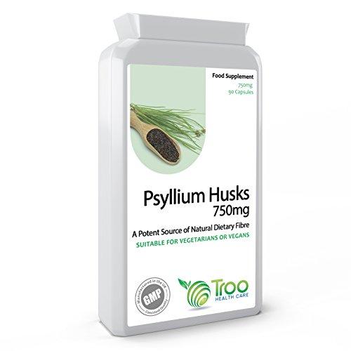 Psyllium Husks - Flohsamenschalen 750 mg x 90 Kapseln - natürliche Ballaststoffe für Darmreinigung & Darmgesundheit (Kapseln 100 Husk Psyllium)