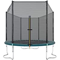 Ultrasport Outdoor Gartentrampolin Jumper, Trampolin Komplettset inklusive Sprungmatte, Sicherheitsnetz, gepolsterten Netzpfosten und Randabdeckung, bis zu 120 kg, grün, Ø 251 cm
