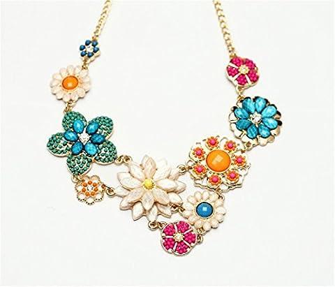 Colorful Flower Beaded Festoon Lavalier Y Bib Choker Collar 18K Gold Necklace - Oro Collana In Rilievo