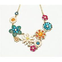 Qiyun Collar De Gargantilla De Solapa Feston Y Babero Collar De Oro De 18 Quilates Con Cuentas De Colores De La Flor