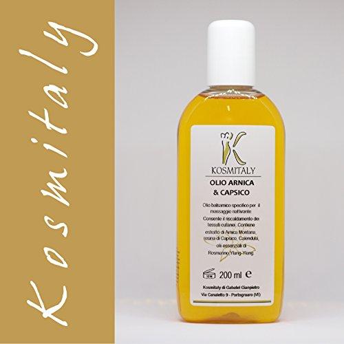 Olio arnica e capsico da massaggio 200 ml - professionale decontratturante antinfiammatorio antidolorifico - prodotto indispensabile nei trattamenti localizzati in estetica e fisioterapia