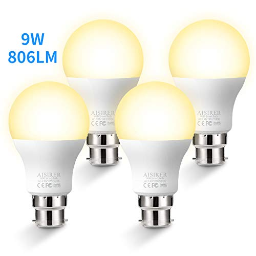 WiFi Smart Bulb AISIRER Alexa Light Bulbs No Hub Requried, B22 Bayonet LED Bulb Compatible with Alexa Google Home IFTTT, Dimmable Warm Light 2700K, 9W,60W Equivalent, 806LM (4 Pack)