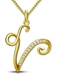 "ASHTAVINAYAK JEWELS 14K Yellow Gold Finish 925 Silver CZ Initial Alphabet""V"" Letter Pendant For Women & Men"
