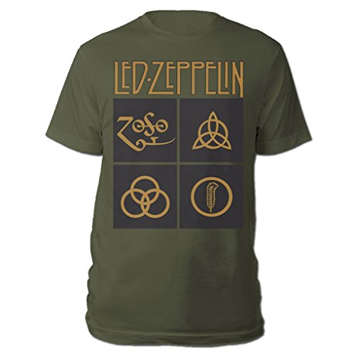 Led Zeppelin Official T Shirt Black & Gold Box Symbols Olive Green
