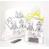 Sac à dos pour enfant pirates avec 4 cires à colorier. Décoré avec sac en PVC, ruban en raphia et carte personnalisée. Lot de 10 unités. Cadeau idéal pour les anniversaires et les fêtes d'enfants.