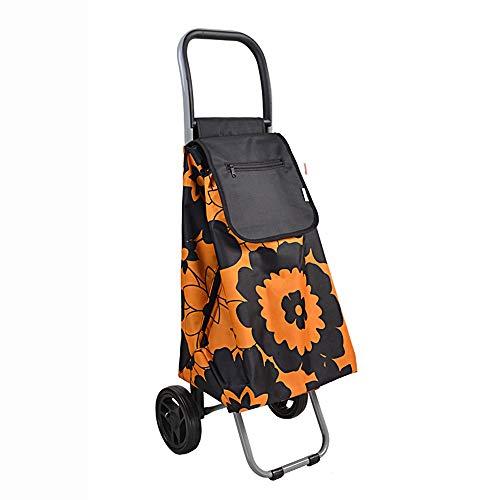 ASDFNF Warenkorb Treppensteigen Tragbarer Trolley Auto Alte Leute Kaufen Gemüse Faltbarer Trolley (Color : Orange)