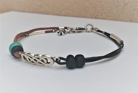 Celtic knot Infinity Anklet for Women, Turquoise and Black Leather