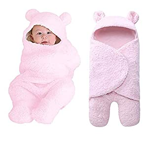 Newborn Baby Sleeping Bag Boys Girls Cute Cotton Plush Receiving Blanket Wrap Swaddle Warm Receiving Blanket Sleep Sack Stroller Wrap for Baby Photography Props Bath Towel (02-Pink)