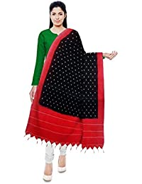 788a3807a285d Deekshitha Handloom House Double Ikat Handloom Cotton Dupatta (Black and  Red)