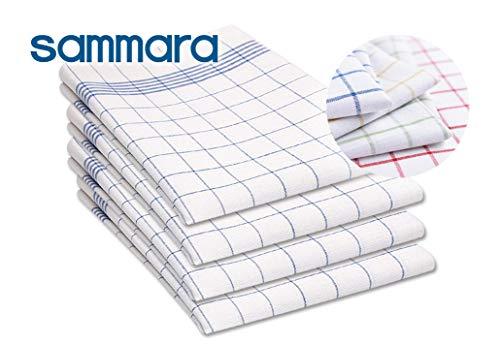 SAMMARA 10 x Torchons de Cuisine 50 x 70 cm | Tissu en Coton de Qualité | Très Absorbant et Facilement Lavable | Utilisation Polyvalente et Couleurs Différentes |