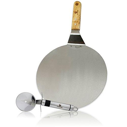 Culinova Pizzaschieber Set mit Pizzaschneider | Premium Pizzaschaufel mit Ø 25cm | Pizzaheber aus Edelstahl mit Edlem Holzgriff