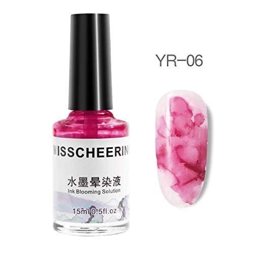 Cwemimifa Unterlack Strong Start Nagelpflege,Aquarell Tinte flüssiger Nagellack Gel Effekt Marmor Farbverlauf Maniküre Frauen Nagel,Mehrfarbig