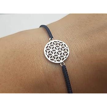 Lebensblume Armband dunkelblau 925 Silber handgeflochten