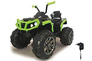 Jamara 460450 Ride-on Quad Protector Verde 12V-Arranque sin Llave, 2 Velocidades, Faros, Claxon, Sonido, Conexión Fuentes Audio externas, Radio FM, Amortiguador, Potente batería, Color