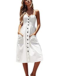 Miss Floral Women's Bardot Button Through A-Line Midi Strappy Dress 23 Style Size 6-20