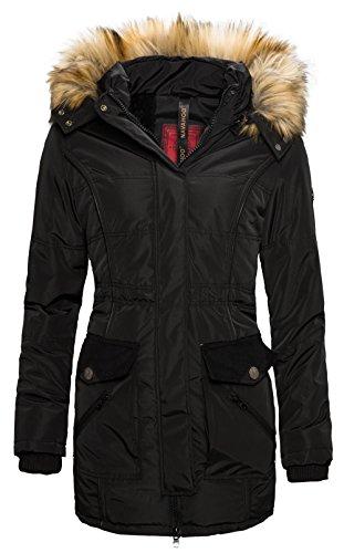 Navahoo Damen Winter Jacke wasserabweisender Parka langer Mantel warm gefüttert B323