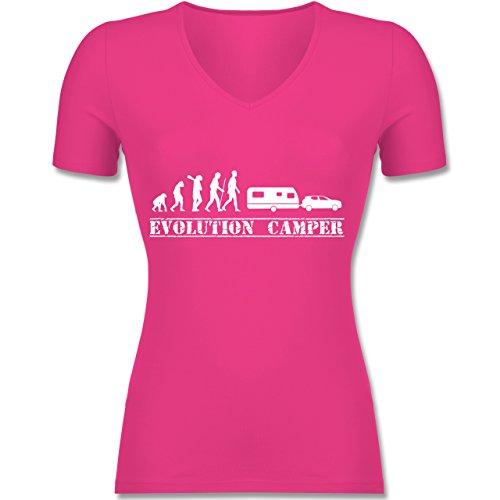 Evolution - Evolution Wohnwagen Weiß - Tailliertes T-Shirt mit V-Ausschnitt für Frauen Fuchsia