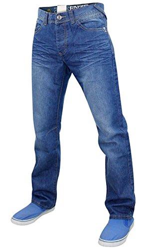 Herren Enzo EZ349 Marken Denim Jeans Mid Stone Wash