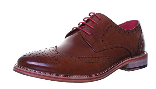 M1 Original Justin Reece Designer Hand Made Leather Brogue Wingtip Shoe (8 UK, Brown )