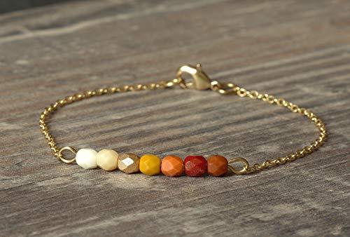 Zartes goldenes Messing Armband Farbverlauf Beige Gelb Braun