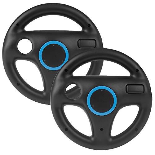 2 Stücke Mario Kart Wii Lenkrad, Beinhome Wii Racing Wheel Lenkrad für Nintendo Wii Spiele und Wii U Racing Spiele(Schwarz)