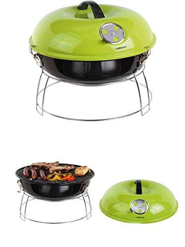 Barbecue a carbonella acciaio inossidabile Camping Grill Grill da tavolo balcone Picnic Barbecue con coperchio (Griglia, 41cm, Smalto, Maniglia, Valvola di sfiato, Supporto, Verde)