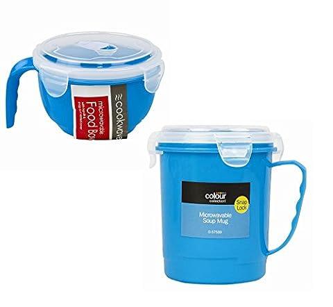 Ensemble 2pièces Bol et tasse à soupe Passe au micro-ondes bleu