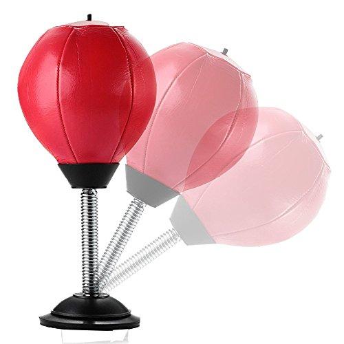 Ailiebhaus Stress Tisch-Punching-Ball mit Standfuß Buster Desktop Trainingsset,Rot 15x15x36cm