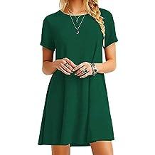 e56a2228812bc4 YMING Damen Casual Langes Shirt Lose Tunika Kurzarm T-Shirt Kleid 24  Farbe