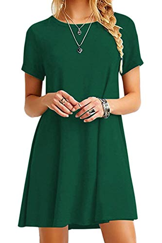 YMING Damen Casual Blusenkeid Lose Tunika Casual T-Shirt Kleid Kurzarm Basic Strickkleid,Grün,XXL/DE - Damen Kostüm Shirts
