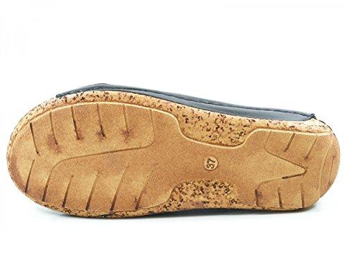 Gemini Damen Sandalen Kreuz Leder Blau 32010 Schwarz