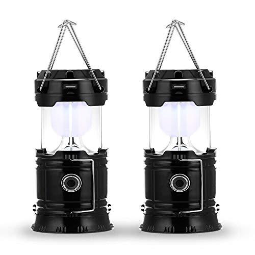 Fulighture LED Camping Lampe,Stecker und Solar wiederaufladbar, mit Powerbank,tragbar & handlich,Wasserdicht und Winddicht,für Wandern,Camping,Notfall,Hurrikan,Nachtfischen,IP66 wasserdichte,2er Pack