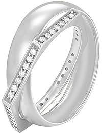 Joop! Damen-Ring JP-EDGED 925 Silber Zirkonia weiß Gr. 59 (18.8) - JPRG90778A530