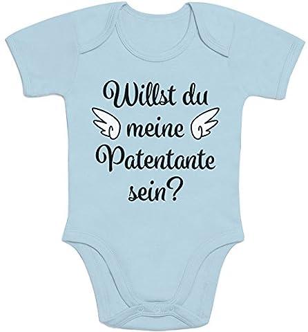 Geschenkidee - Willst du meine Patentante sein? Baby Body Kurzarm-Body 40/56 (0-3M) Hellblau
