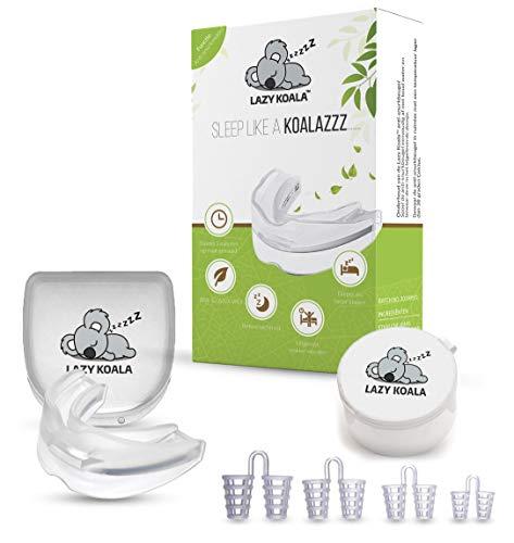 E Shoppr Lazy Koala Anti-Schnarch-Beißschiene & Nasenspreizer - Hilft gegen Zähneknirschen, Schweres Atmen & Schnarchen - Für besseren Schlaf -Aufbissschiene & Nasenklammer für Männer & Frauen