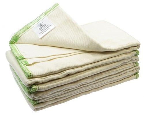 Blümchen Faltwindeln 6 Stück Prefold Bambus Twill Falteinlagen Stoffwindel (R)