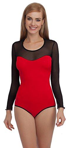 Merry Style Damen Langarm Body VBD15 (Rot/Schwarz, (Body Rot)