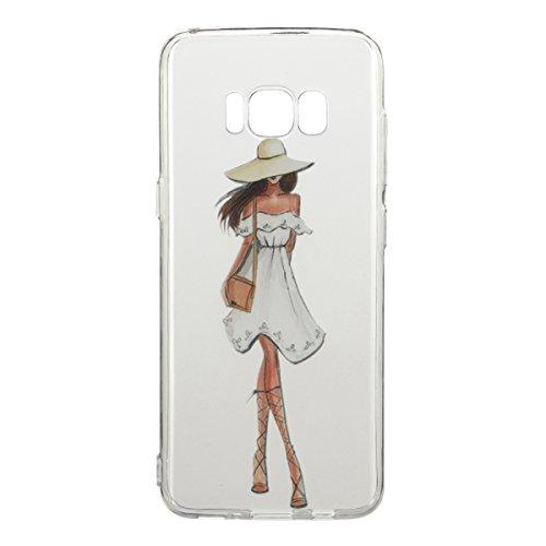 Coque Galaxy S8 Plus,Coque en Soft Silicone TPU Transparente pour Samsung Galaxy S8 Plus,Ekakashop Ultra Slim-fit Jolie Dolphins Jouer Dessin Antidérapant Coque de Protection TPU Flexible Souple Case  Fille Robe Blanc