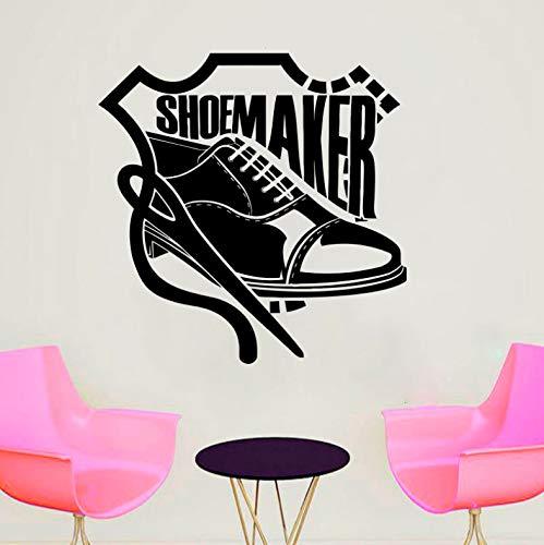 Vinyl-leder-schuhe (Handgemachte Schuhmacher Nähen Studio Leder Schuhe Decals Vinyl Wandaufkleber Schneider Abnehmbare Innendekoration Wandbilder 42x43 cm)