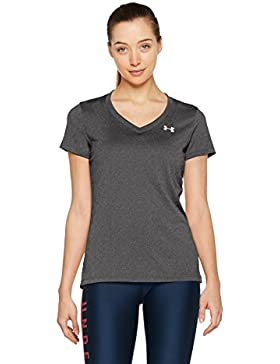 Under Armour TECH SSV - Camiseta de manga corta para Mujer, color Gris (Carbon Heather), talla XS