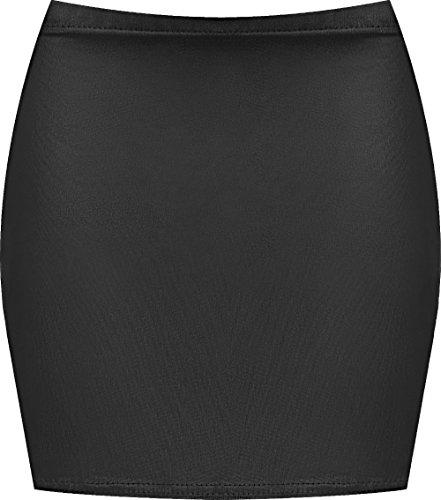 WearAll - Damen Bedruckt Dehnbar Jersey Figurbetontes Kurz Mini-Rock - Wet Look - 36-38 - Wet-look Mini