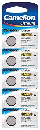 Camelion CR1616 Lithium Knopfzelle 3V Batterie, 5er Streifen