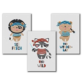 Piraten Poster Kinder, Tierbilder Kinderbilder Kinderzimmer, Bilder maritim Poster – A4 Deko Set – ohne Bilderrahmen